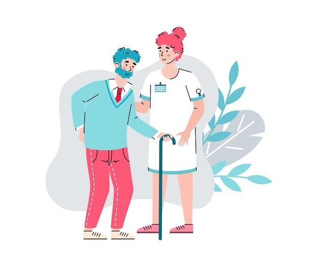 Pielęgniarka w domu opieki wspierająca starszego mężczyznę, kreskówka na białym tle.