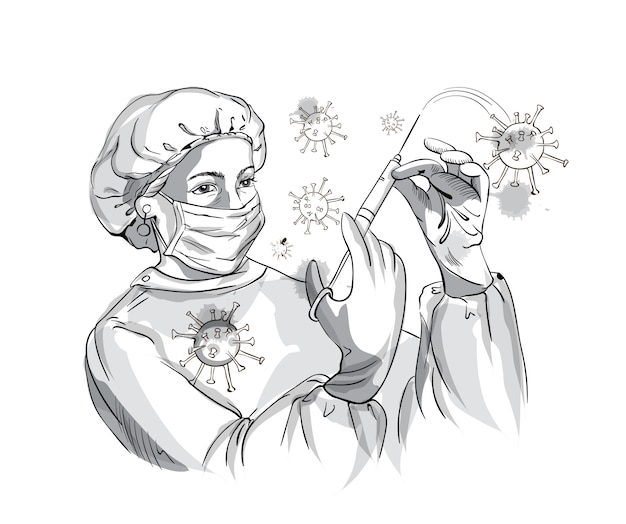 Pielęgniarka w stroju ochronnym podczas walki z wirusem corona za pomocą strzykawki