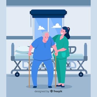 Pielęgniarka wyciągnąć rękę, dbając o pacjenta