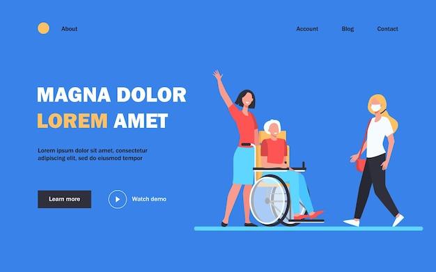 Pielęgniarka z niepełnosprawnym mężczyzną pozdrowienie kobieta. wózek inwalidzki, wiek, maska płaska ilustracja