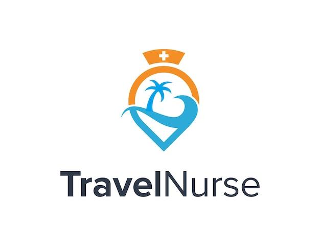 Pielęgniarka z szpilką podróżną i palmą oceaniczną prosta, elegancka, kreatywna, geometryczna, nowoczesna konstrukcja logo