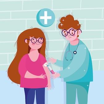 Pielęgniarka zaszczepia dziewczynę ilustracji medycznych szczepień opieki zdrowotnej