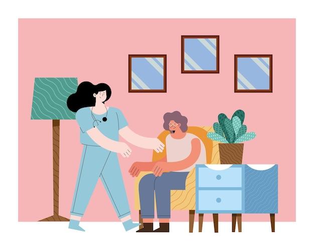 Pielęgniarka ze starą kobietą