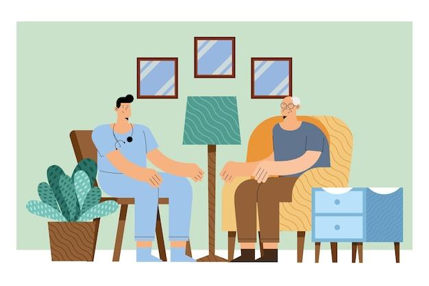 Pielęgniarka ze starcem