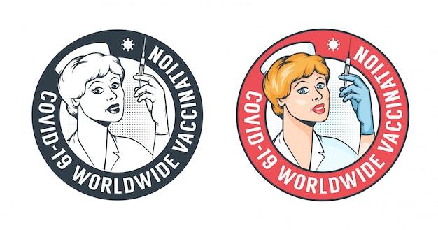 Pielęgniarka ze strzykawką - logo szczepienia w stylu retro