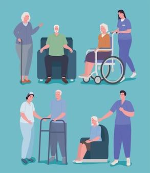 Pielęgniarki geriatrii i dziadkowie