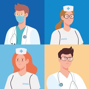 Pielęgniarki i lekarze opieka zdrowotna, projekt ilustracji wektorowych personelu medycznego szpitala opieki zdrowotnej