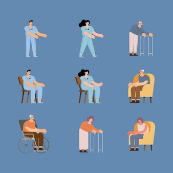 Pielęgniarki oraz starsza kobieta i mężczyzna