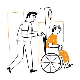 Pielęgniarki pomagają pacjentom pchać wózek inwalidzki, rysunek ręka wektor ilustracja doodle styl