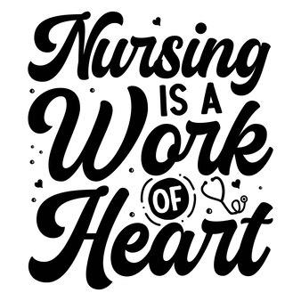 Pielęgniarstwo jest dziełem serca typografia szablon cytatu premium vector design