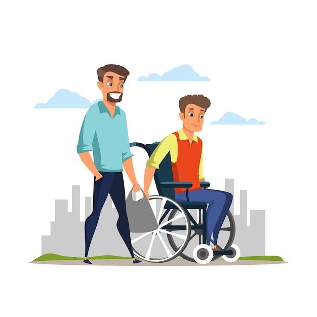 Pielęgniarstwo niepełnosprawne, pomoc płaska ilustracja, młody mężczyzna i niepełnosprawny brat w postaci z kreskówek na wózku inwalidzkim, opiekun, wsparcie moralne rodziny, rehabilitacja osób niepełnosprawnych, pomoc osobom niepełnosprawnym