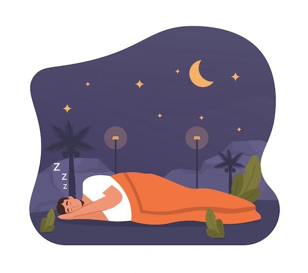 Pielgrzym hadżdż zostaje na noc w muzdalifah