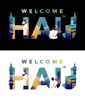 Pielgrzym modli się na jabal rahmah i stoi w obliczu masjid haram z ilustracją typografii hajj