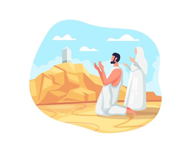 Pielgrzymi hadżdż modlą się na górze arafat. rytuał pielgrzymki hajj, muzułmańscy pielgrzymi modlą się i recytują święty koran w arafat. jeden ze świętych szlaków pielgrzymkowych islamu. ilustracja wektorowa w stylu płaskiej