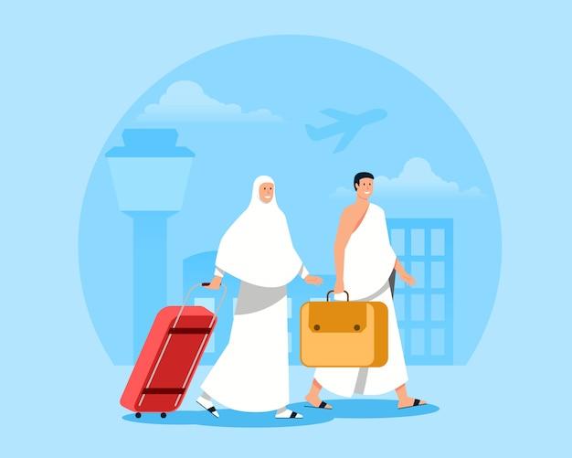 Pielgrzymi idący od przybycia na lotnisko