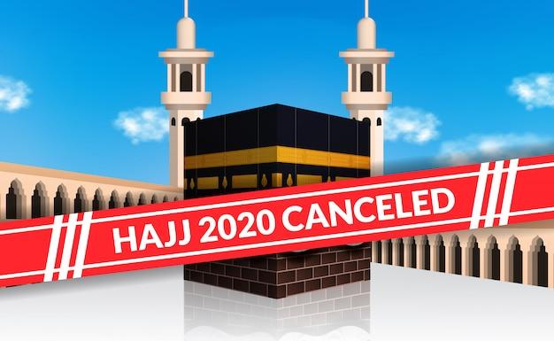 Pielgrzymka pielgrzymka 2020 odwołany, aby uniknąć rozprzestrzeniania się ogniska covid-19. lockdown city of mecca. kaaba budynku święta islamska ilustracja z niebieskiego nieba tłem.