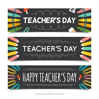 Pień banery zestaw dzień nauczyciela