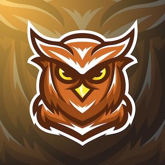 Pień wektor ilustracja logo maskotka sowa