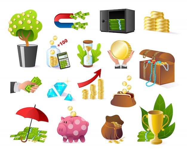 Pieniądze bankowość i finanse zestaw ikon na białych ilustracjach. bank, gotówka, złoto w sztabkach i skarb. skarbonka, płatność walutą, dolary w sejfie. wymiana, skarbonka.