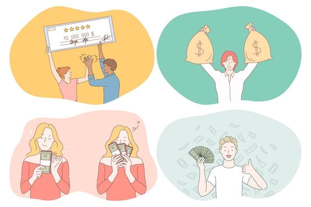 Pieniądze, bogactwo, koncepcja jackpota.