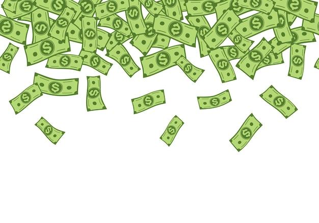 Pieniądze deszcz spadające banknoty dolarowe bezszwowe granica kreskówka gotówka konfetti tło