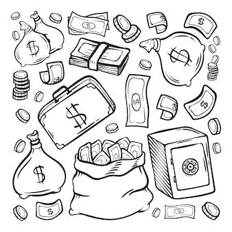 Pieniądze doodle finansowe