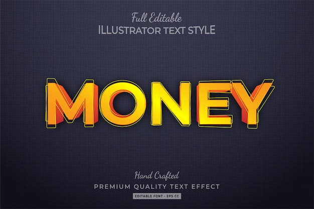 Pieniądze edytowalny styl tekstu efekt premium