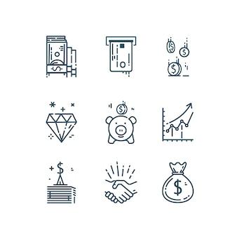 Pieniądze, finanse zestaw ikon linii.