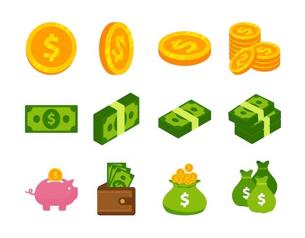 Pieniądze gotówki i monet ikony wektorowy projekt