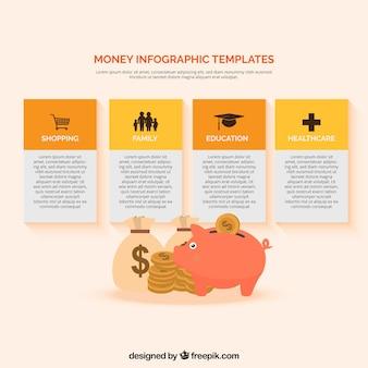 Pieniądze infografika szablon z monet i skarbonka