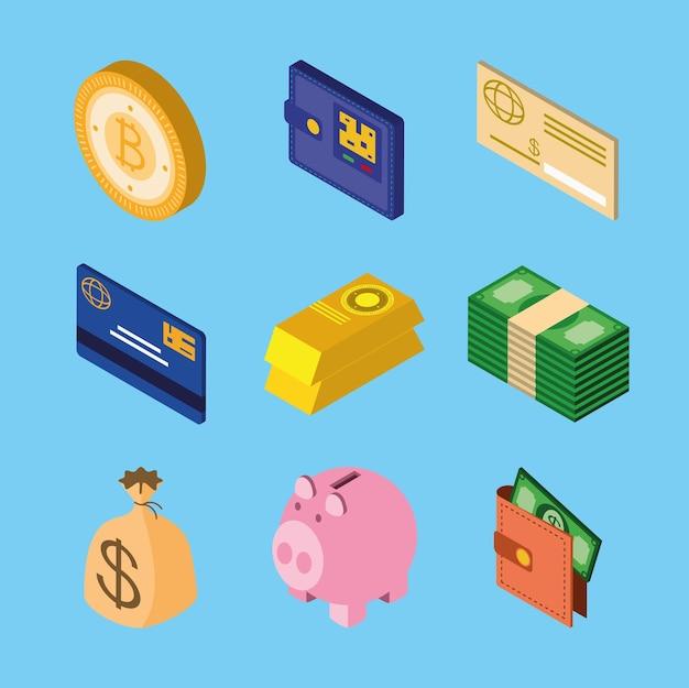 Pieniądze izometryczne rachunki monet skarbonka