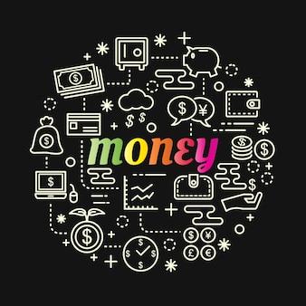 Pieniądze kolorowy gradient z zestaw ikon linii