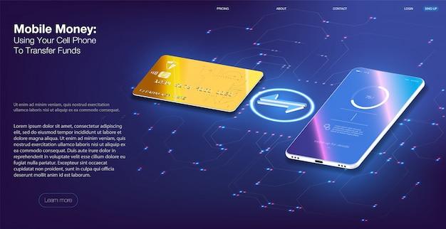 Pieniądze mobilne za pomocą telefonu komórkowego do przesyłania środków, telefonu komórkowego i bankowości internetowej.