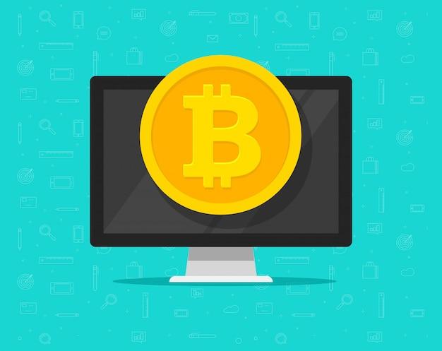 Pieniądze monety bitcoin na komputerze