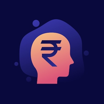 Pieniądze myśli wektor ikona z rupii indyjskiej