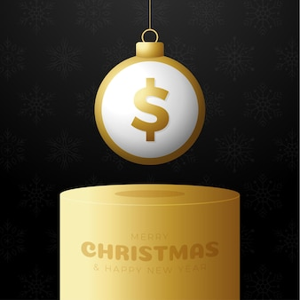 Pieniądze na cokole boże narodzenie cacko. wesołych świąt pieniądze kartkę z życzeniami. powiesić na wątku moneta piłka dolara jako piłka boże narodzenie na złotym podium na czarnym tle. ilustracja wektorowa gospodarki.