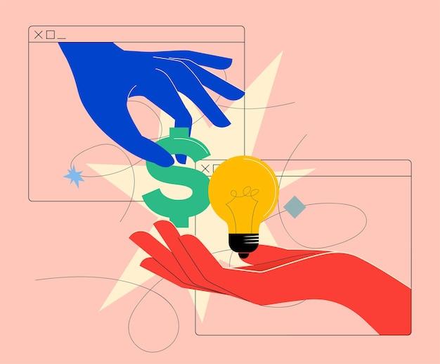 Pieniądze na pomysły lub sprzedaj pomysł lub koncepcję inwestowania lub finansowania społecznościowego w jasnych kolorach z internetowymi zmieniającymi się pieniędzmi na pomysł