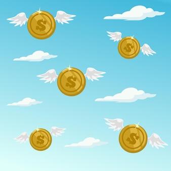 Pieniądze odlatują. ilustracja kreskówka płaska