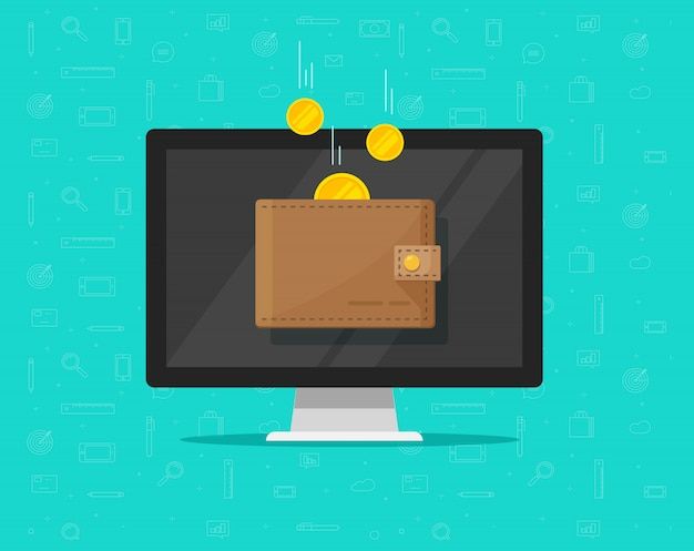 Pieniądze online dochód w płaskiej kreskówce portfela elektronicznego