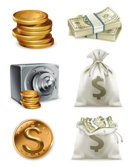 Pieniądze papierowe i złota moneta, worek pieniędzy.
