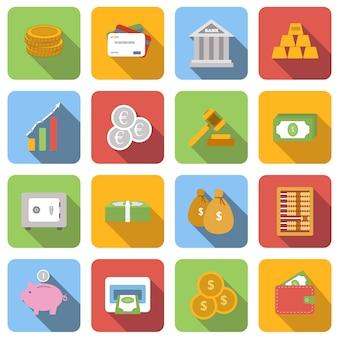 Pieniądze płaskie ikony ustawić obrazy z długim cieniem w kwadracie