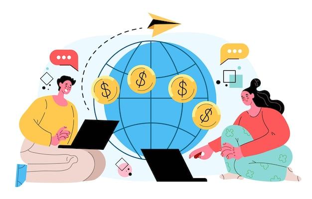 Pieniądze płatność przelewem finansowanie transakcji monetą