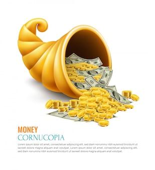 Pieniądze róg obfitości jako symbol hojności sukcesu szczęścia bogactwo na biznesowym realistycznym pojęciu