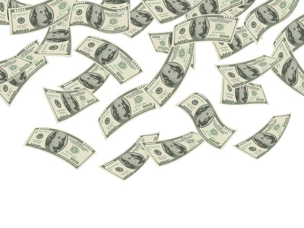 Pieniądze spadają. koncepcja biznesowa dolarów banknotów gotówki deszcz produkty inwestycyjne ekonomiczne bogactwo tło.
