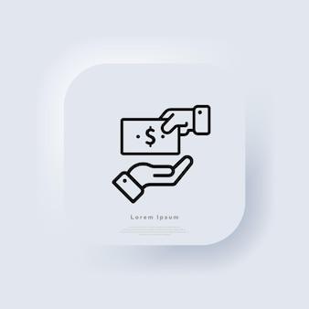 Pieniądze w dłoni ikona. koncepcja biznesowa. znak pieniędzy. biały przycisk sieciowy interfejsu użytkownika neumorphic ui ux. neumorfizm. wektor eps 10.