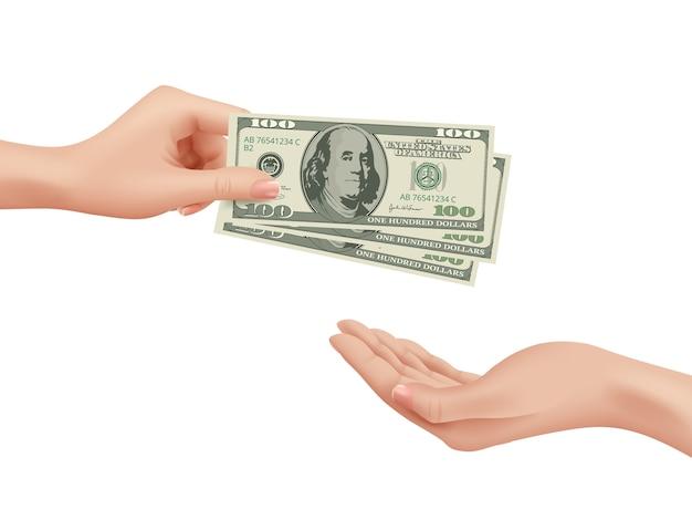 Pieniądze w ręku. biznes kobieta bierze zakup dolarów dokonać transakcji płacenia depozytu zmiana gotówki wektor realistyczna koncepcja. ilustracja sfinansować zapłacić, zapłacić gotówką, wynagrodzenie lub kupić