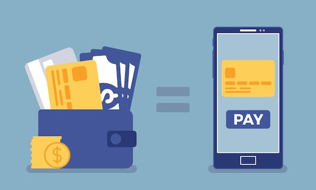 Pieniądze z płatności mobilnych. portfel, usługa płatności smartfonem, płatność elektroniczna, marketing z wykorzystaniem technologii komputerowej, telefon do dokonywania transakcji finansowych, zakupy. ilustracja wektorowa