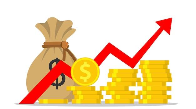 Pieniądze zysku lub budżet, kupa gotówki i rosnąca strzałka wykresu w górę, koncepcja sukcesu biznesowego, wzrostu gospodarczego lub rynkowego, przychody z inwestycji. ilustracja wektorowa w stylu płaski