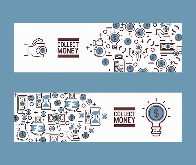Pieniędzy oszczędzań inwestorskiego banka pieniężnej skarbonki tła ustalona ilustracja
