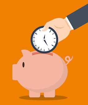 Pieniędzy savings z prosiątko projektem, wektorowa ilustracja